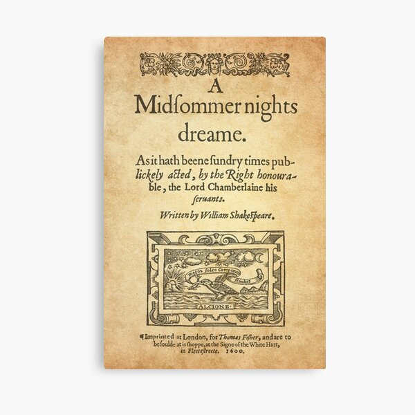 Shakespeare, A midsummer night's dream 1600 Canvas Print
