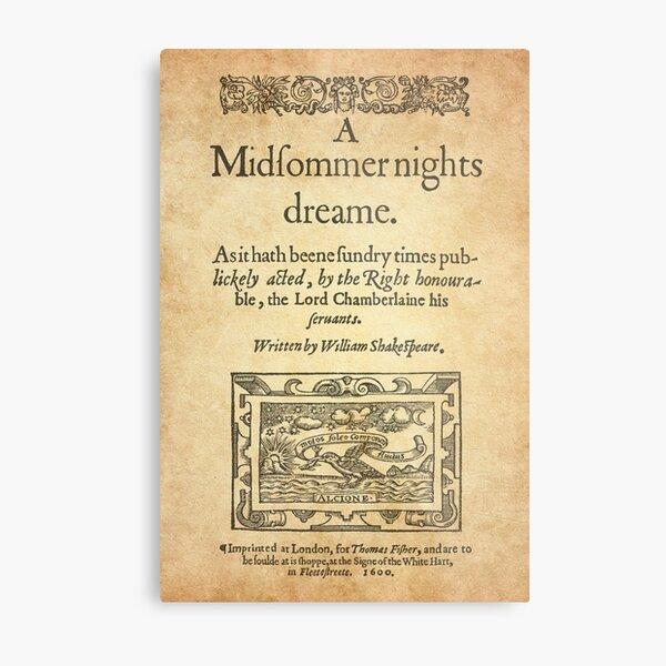 Shakespeare, A midsummer night's dream 1600 Lámina metálica