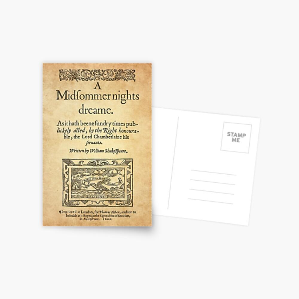 Shakespeare, A midsummer night's dream 1600 Postal