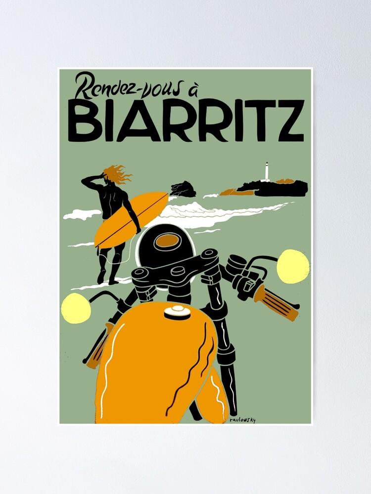 "Alternate view of ""BIARRITZ"" Vintage Travel Advertising Print Poster"