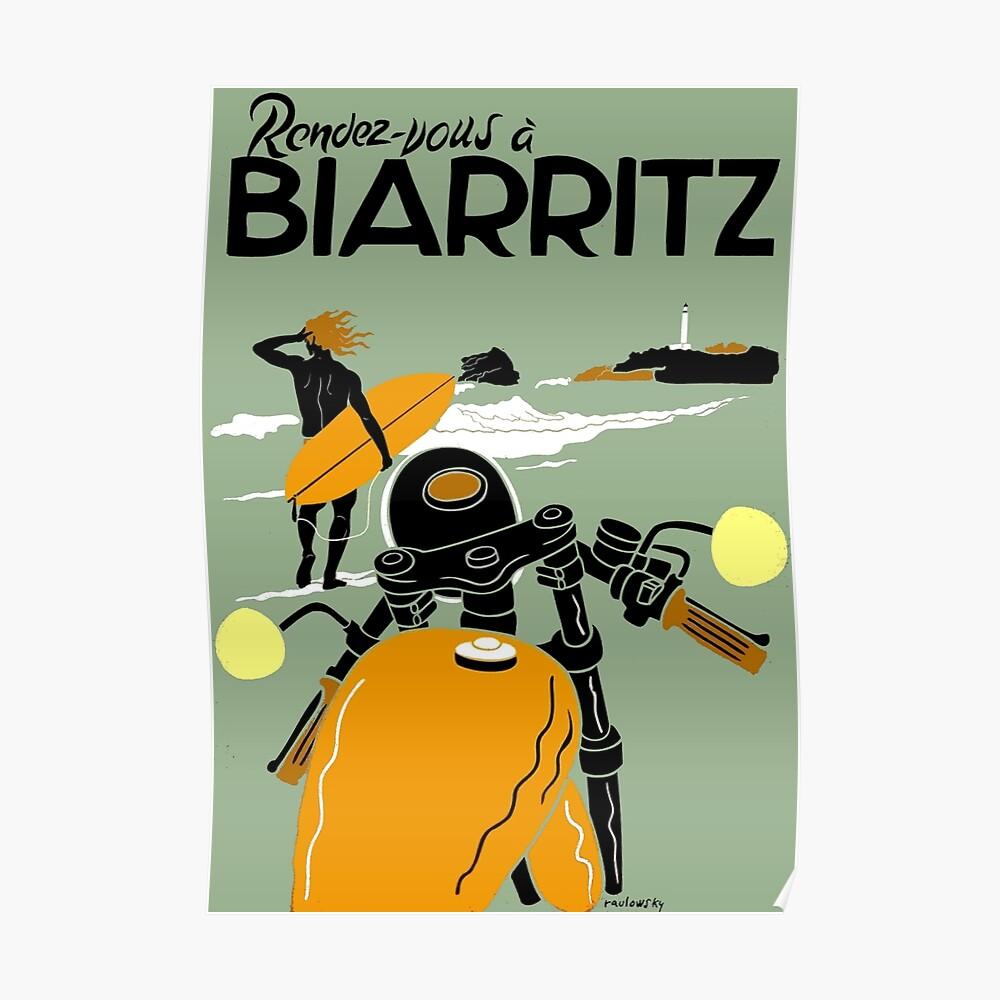 """""""BIARRITZ"""" Vintage Reise Werbung Print Poster"""
