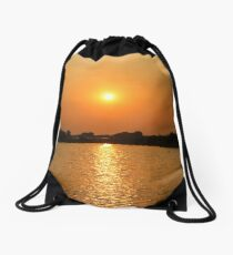 Sunset at the floating villages, Siem Reap Drawstring Bag