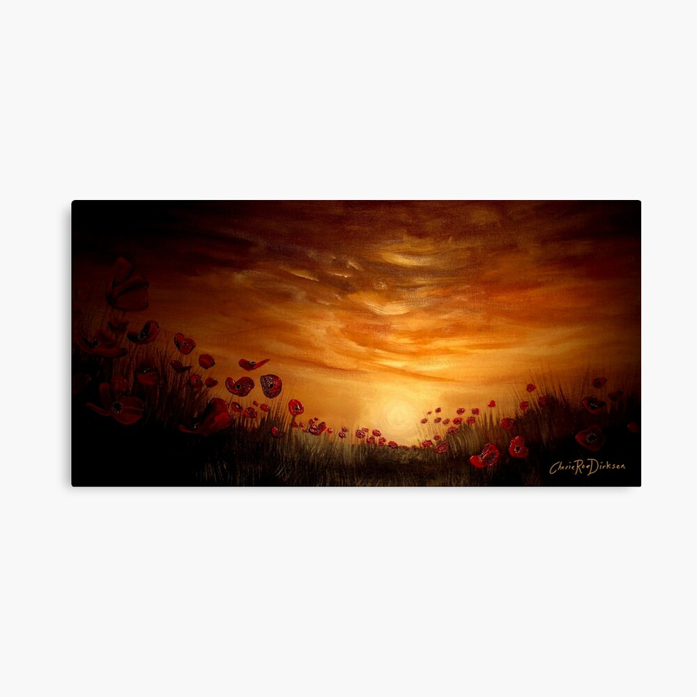 Poppies in the Setting Sun Canvas Print
