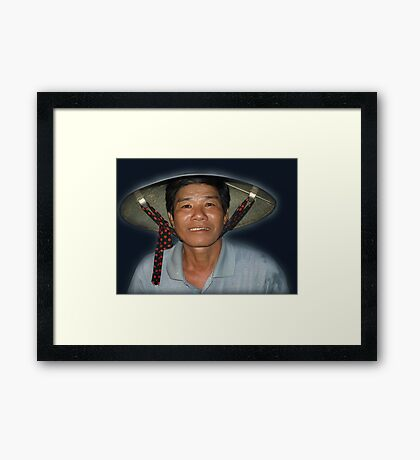 Fisherman on Thu Bon River, Hoi An, Vietnam Framed Print