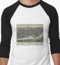 Vintage Pictorial Map of Chippewa Falls WI (1886) Men's Baseball ¾ T-Shirt