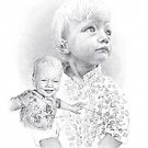 granddaughter montage drawing by Mike Theuer