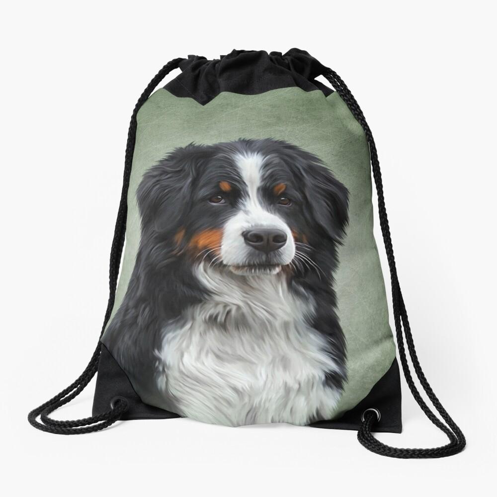 Bernese Mountain Dog. Drawing, illustration funny dog Drawstring Bag