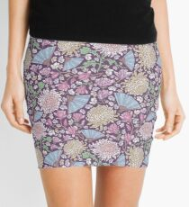 Chrysanthemums with pink magnolia and blue fans on purple background Mini Skirt