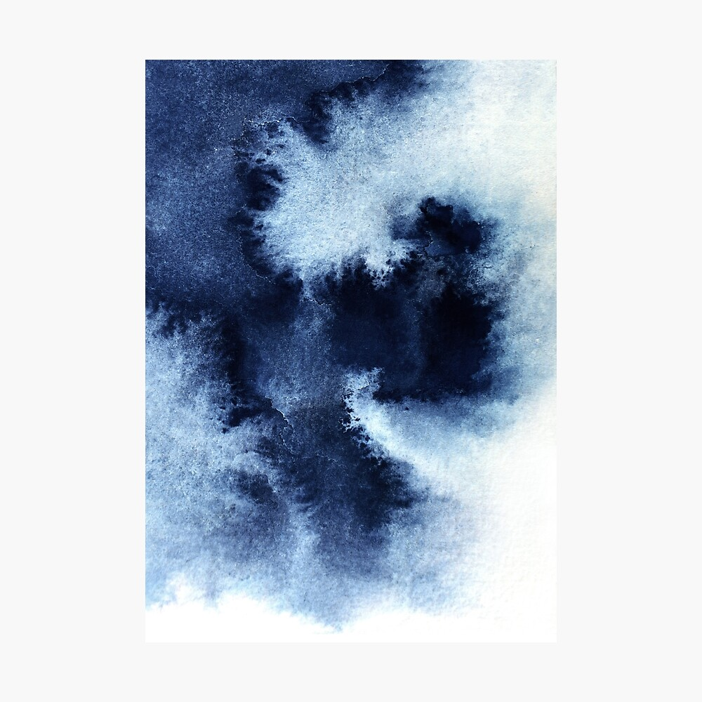 Indigo Nebula, Blue Abstract Painting Photographic Print