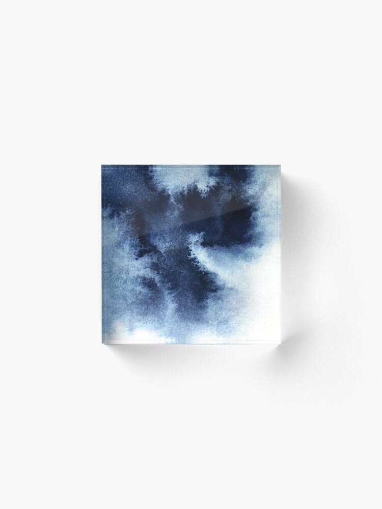 Alternate view of Indigo Nebula, Blue Abstract Painting Acrylic Block