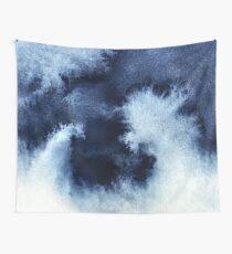 Indigo Nebula, Blue Abstract Painting Wall Tapestry