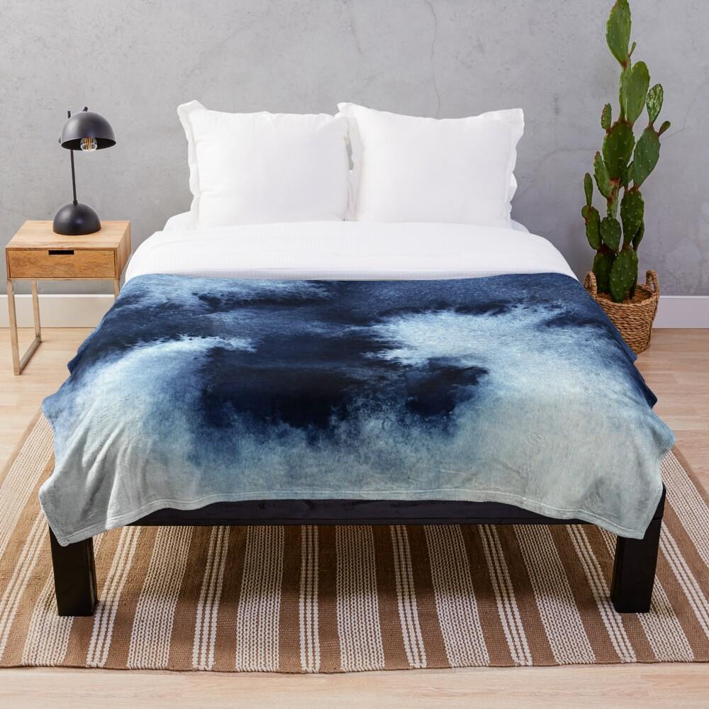 Indigo Nebula, Blue Abstract Painting Throw Blanket