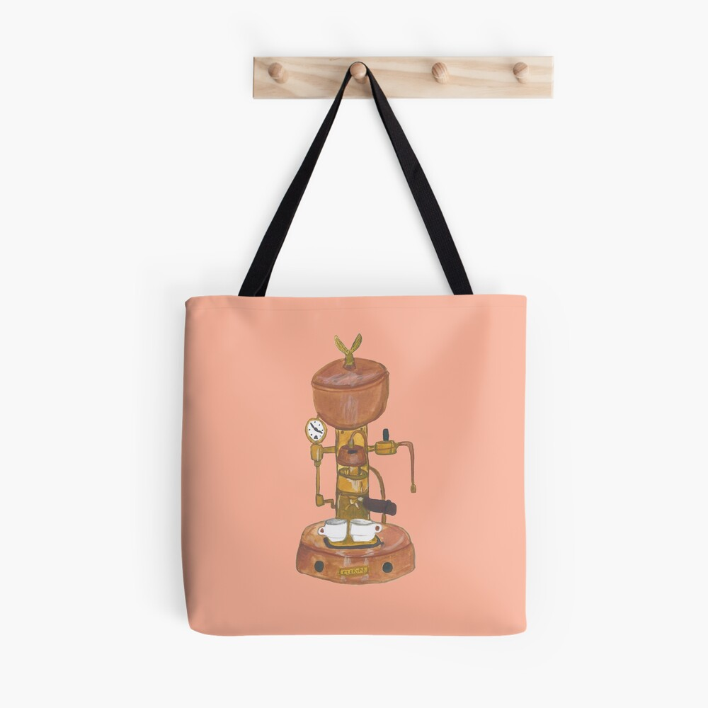 Vintage espresso machine - get woke! Hand painted quirky design Tote Bag