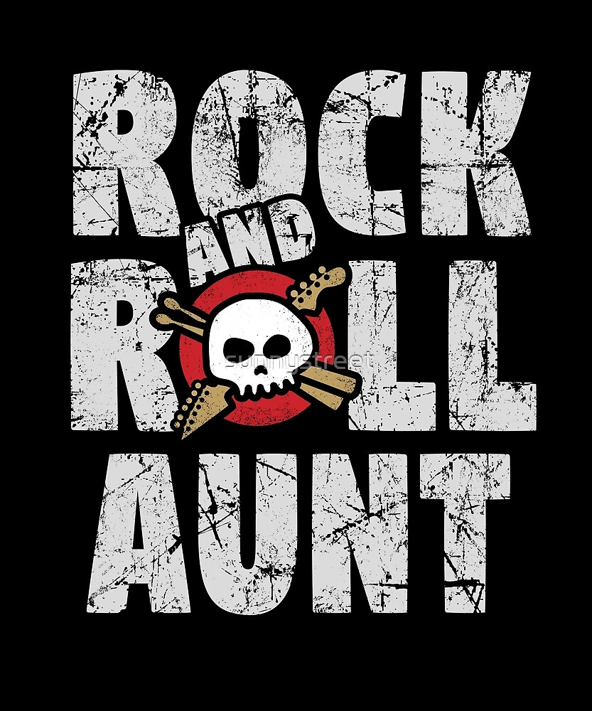 Rock and Roll Aunt Skull and Guitar Logo by SunnyStreet