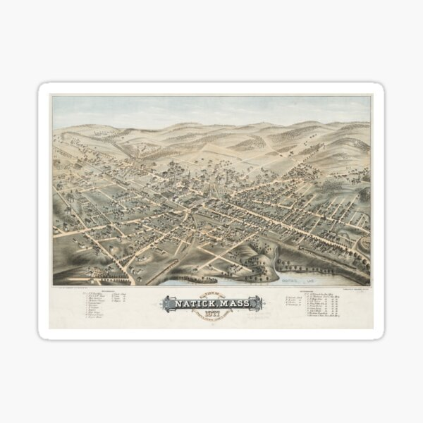 Vintage Pictorial Map of Natick MA (1877) Sticker