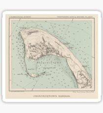 Vintage Map of Provincetown MA (1892) Sticker