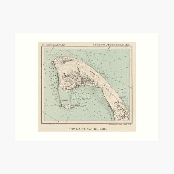 CottonHouse Vintage Map of Provincetown Cotton Throw Pillowcase 1836