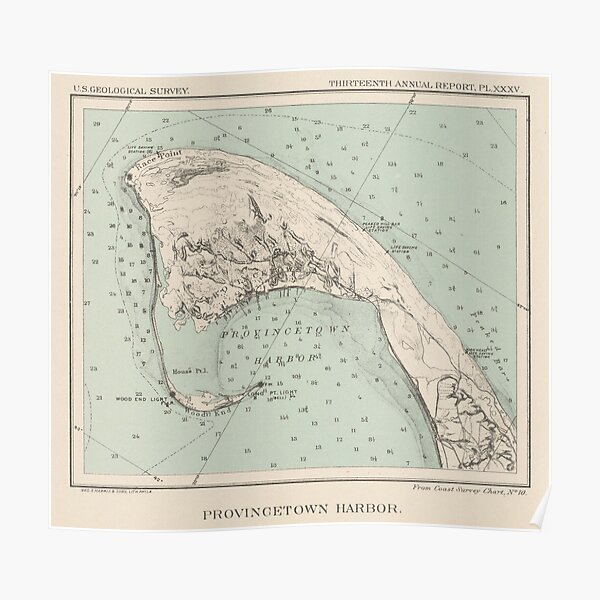 Vintage Map of Provincetown MA (1892) Poster