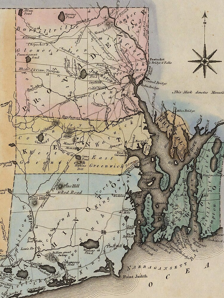 Vintage Map of Rhode Island (1823) by BravuraMedia