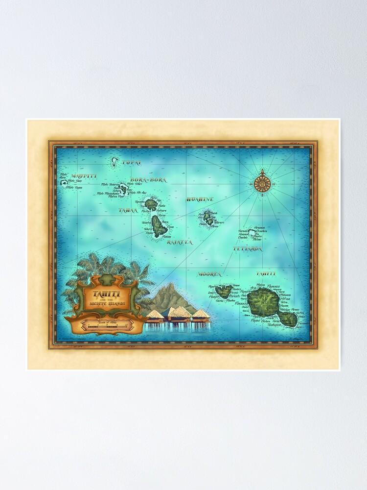 Map Of Tahiti Society Islands Bora Bora Morea Poster