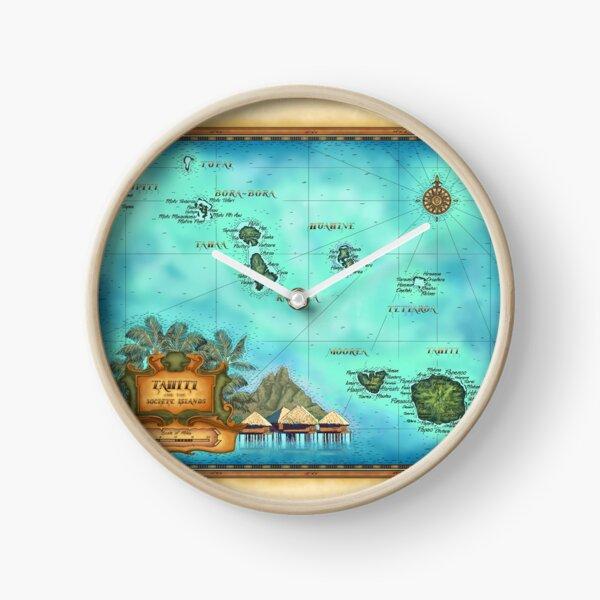 Map of Tahiti, Society Islands, Bora Bora, Morea Clock