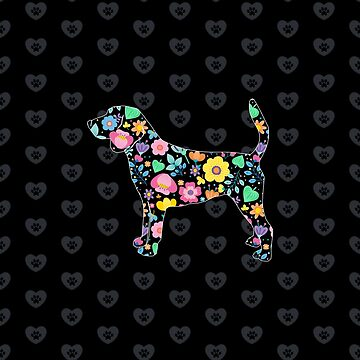 Floral Beagle art with love heart by GBCdesign