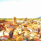 Cityscape with wood and mountain by Giuseppe Cocco