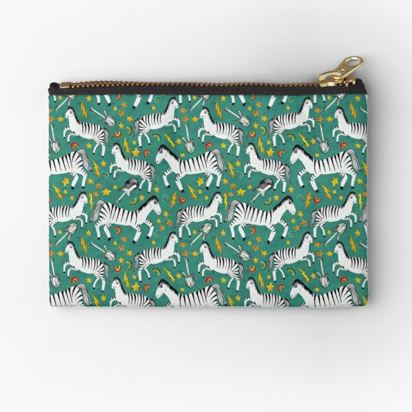 Rockin Rainbow Zebras on Green Zipper Pouch