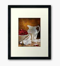 White Wheat And Roses Framed Print
