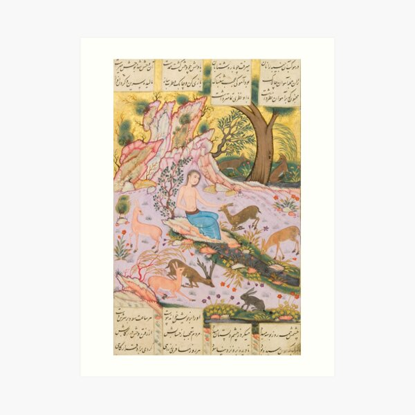 Two Lovers by Persian Reza Abbasi.Fine Art Repro Made in U.S.A Giclee Prints On