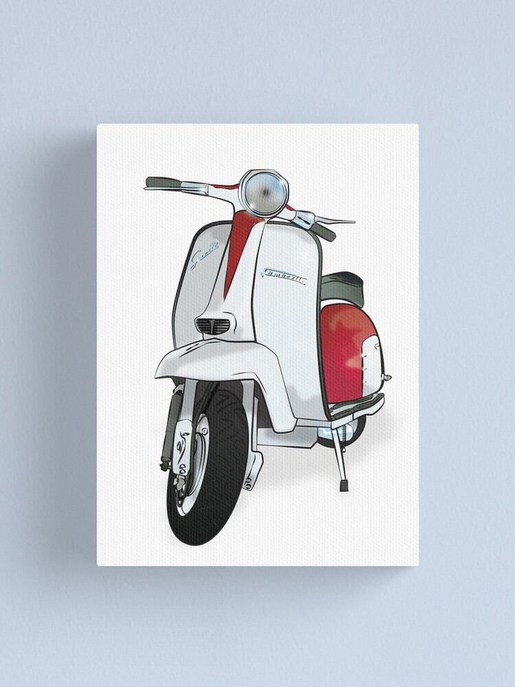 Vintage Scooter In Red White Canvas Print By Collibosher Redbubble