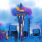 The Space Needle In Soft Abstract  by KirtTisdale