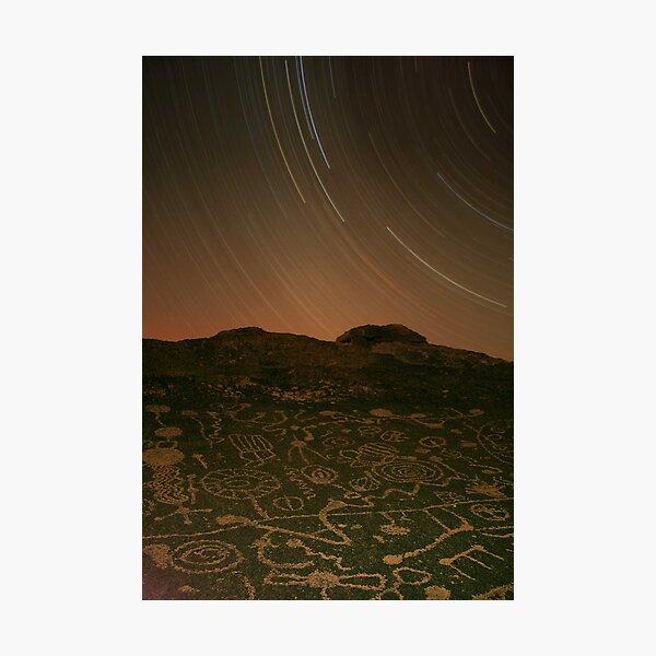 Three Hour Petroglyph Exposure, Eastern Sierra Photographic Print