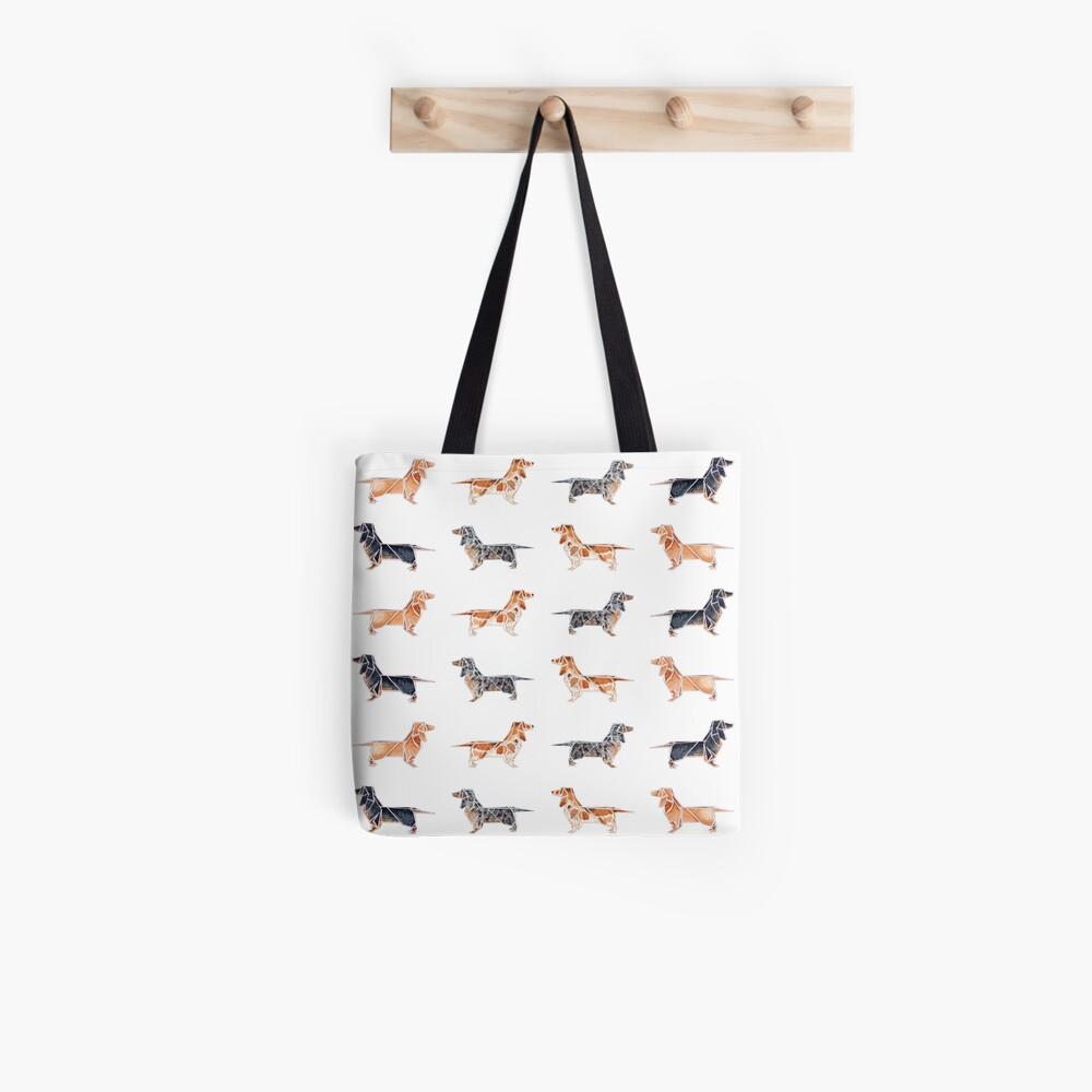 Tiling Origami Dachshunds Tote Bag