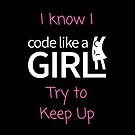 I know I Code Like A Girl - Pink and White by CodeLikeAGirl
