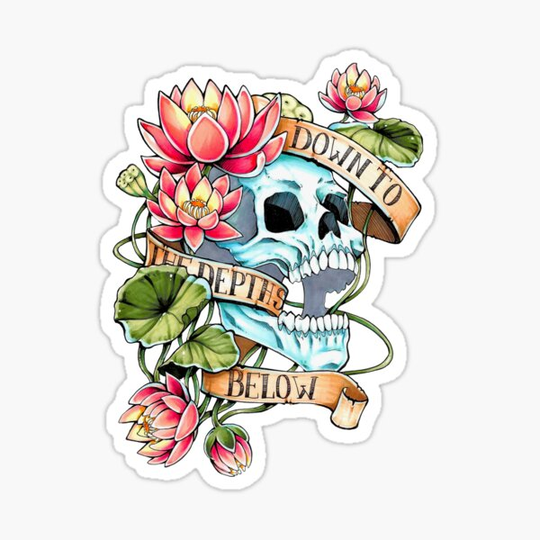 Skull and Lotus Sticker