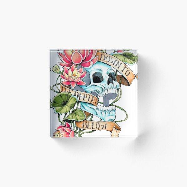 Skull and Lotus Acrylic Block
