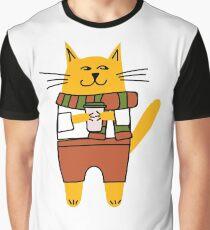 Cat drinking take-away coffee Graphic T-Shirt