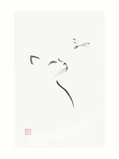 Minimalistic Sumi E Painting Of A Cat Looking Up At Dragonfly Japanese Zen Illustration