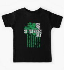 Irish Pride Distressed Saint Patrick's Day Flag Kids Tee