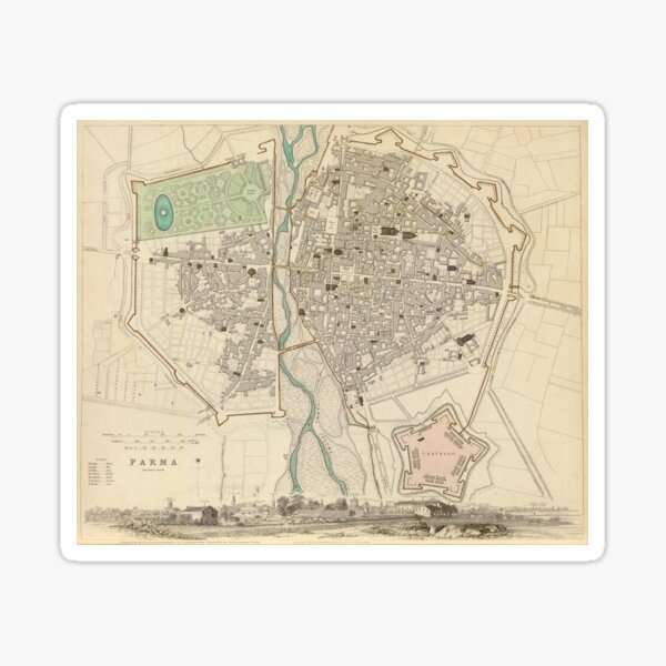 Vintage Map of Parma Italy (1840) Sticker