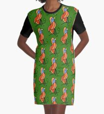 Colorful bird on a twig Graphic T-Shirt Dress