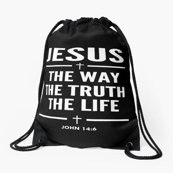 Jesus The Way The Truth The Life John 14:6 Christian Gift Drawstring Bag