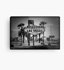 Welcome To Las Vegas Sign Series 3 of 6 Holga Black and White Metal Print
