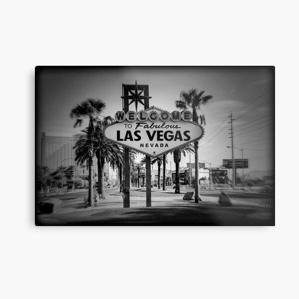 Welcome To Las Vegas Sign Series 3 of 6 Holga Black and White Metal Print
