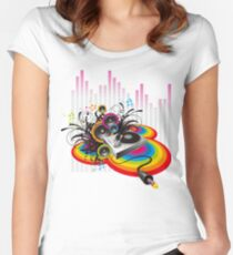 Vinyl Record Music Collage Women's Fitted Scoop T-Shirt