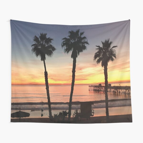 Tapiz Sunset de California Beach Tela decorativa