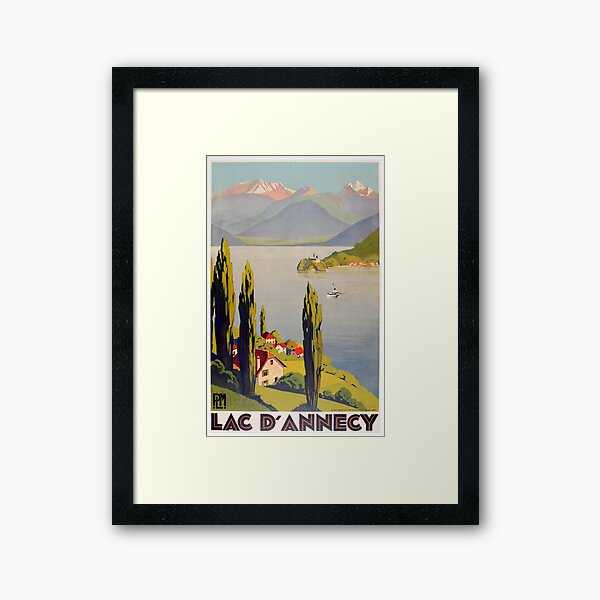 Vintage Lake Annecy France Travel Framed Art Print