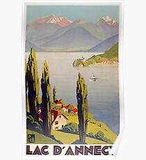 Vintage Lake Annecy France Travel Poster