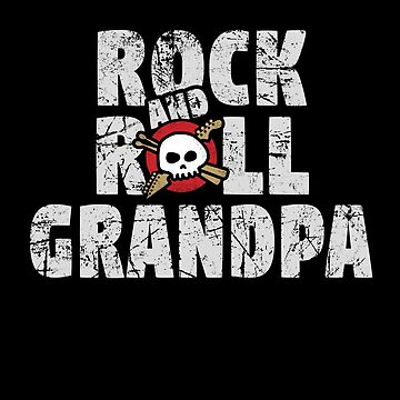 Rock and Roll Grandpa Skull and Guitar Logo by SunnyStreet